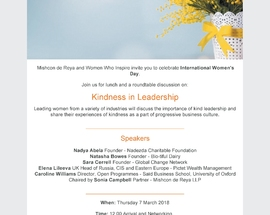 Invitation from Mishcon and Women Who Inspire – Kindness in Leadership